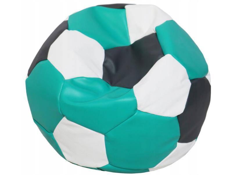 FITMANIA Tříbarevný sedací vak Fotbalový MÍČ XXL + podnožník Vzor: 35 ČERNO TYRKYSOVO BÍLÁ
