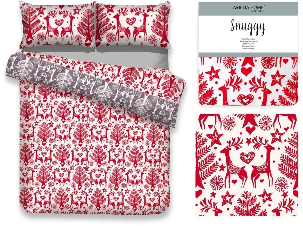 Flanelové obliečky Rudolph červené