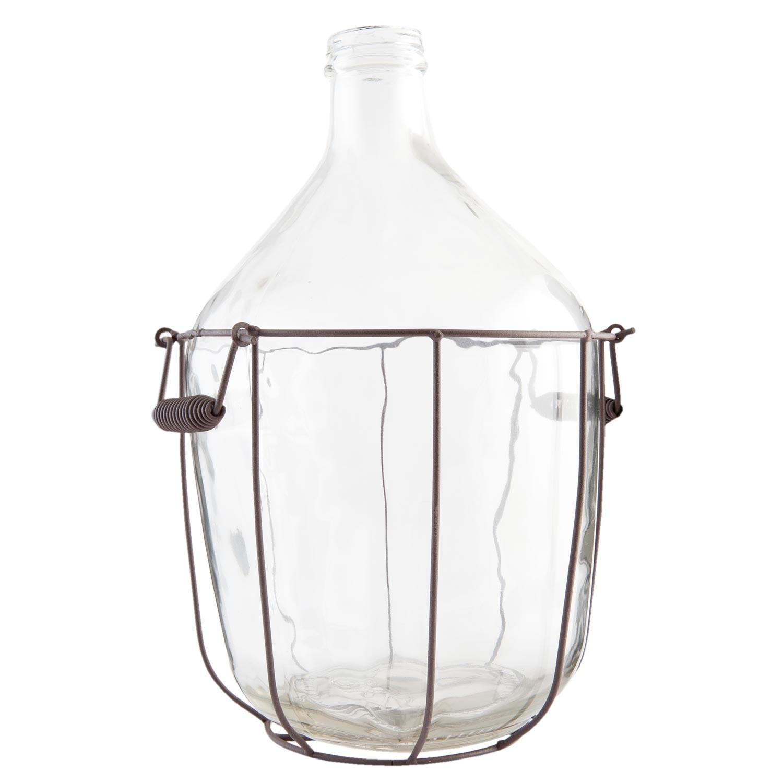 Fľaša / demižón v kovovom koši s držadlami - Ø 24 * 38 cm