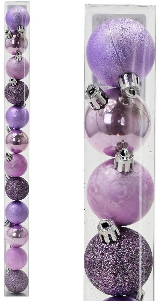 Vianočné gule plast 4cm S/12 039 fialové 8100513