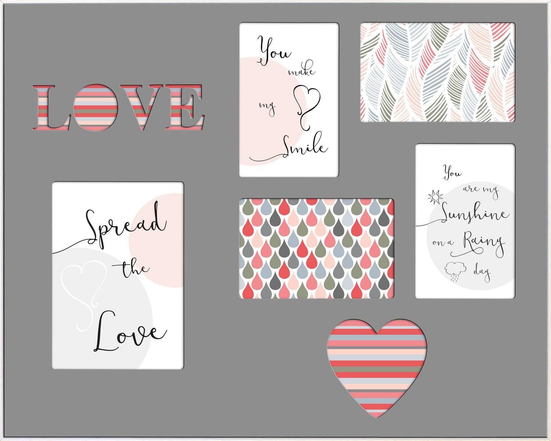 Fotorám koláž Love 40x50 cm, sivá/biela