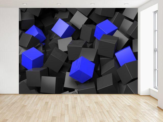 Fototapeta Čierno - modré kocky 3D 200x135cm FT3705A_1AL