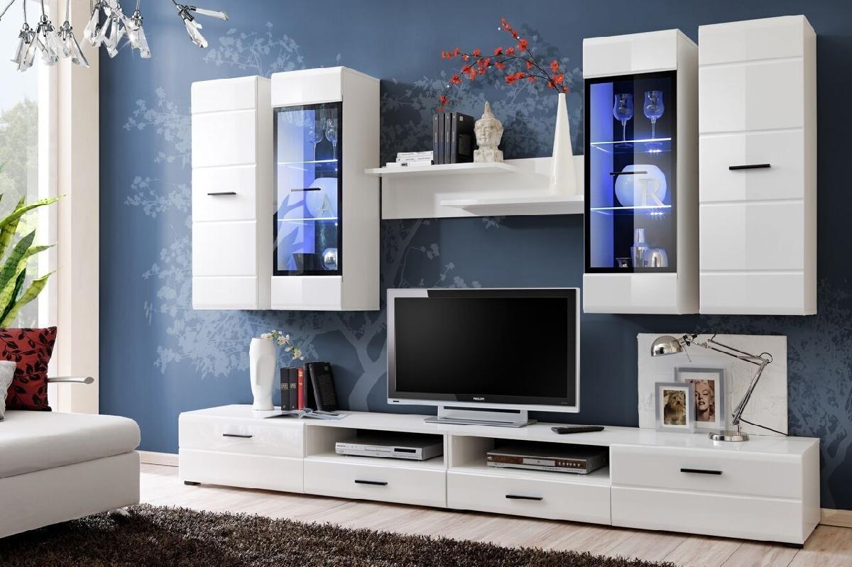 FURNIVAL Lauren obývacia stena s osvetlením biela / biely lesk