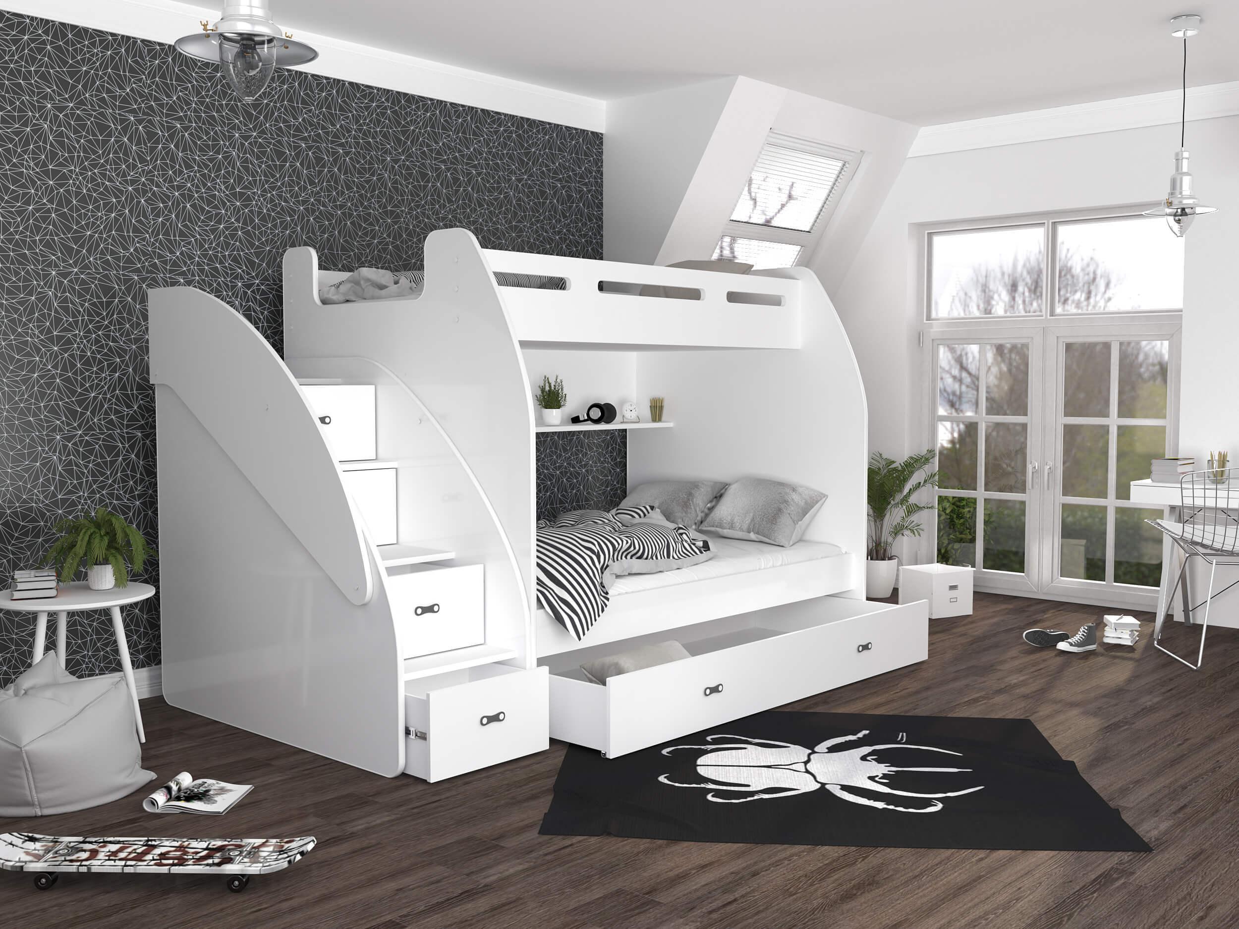 GL Multifunkčná poschodová posteľ Max 3 Farba: Biela