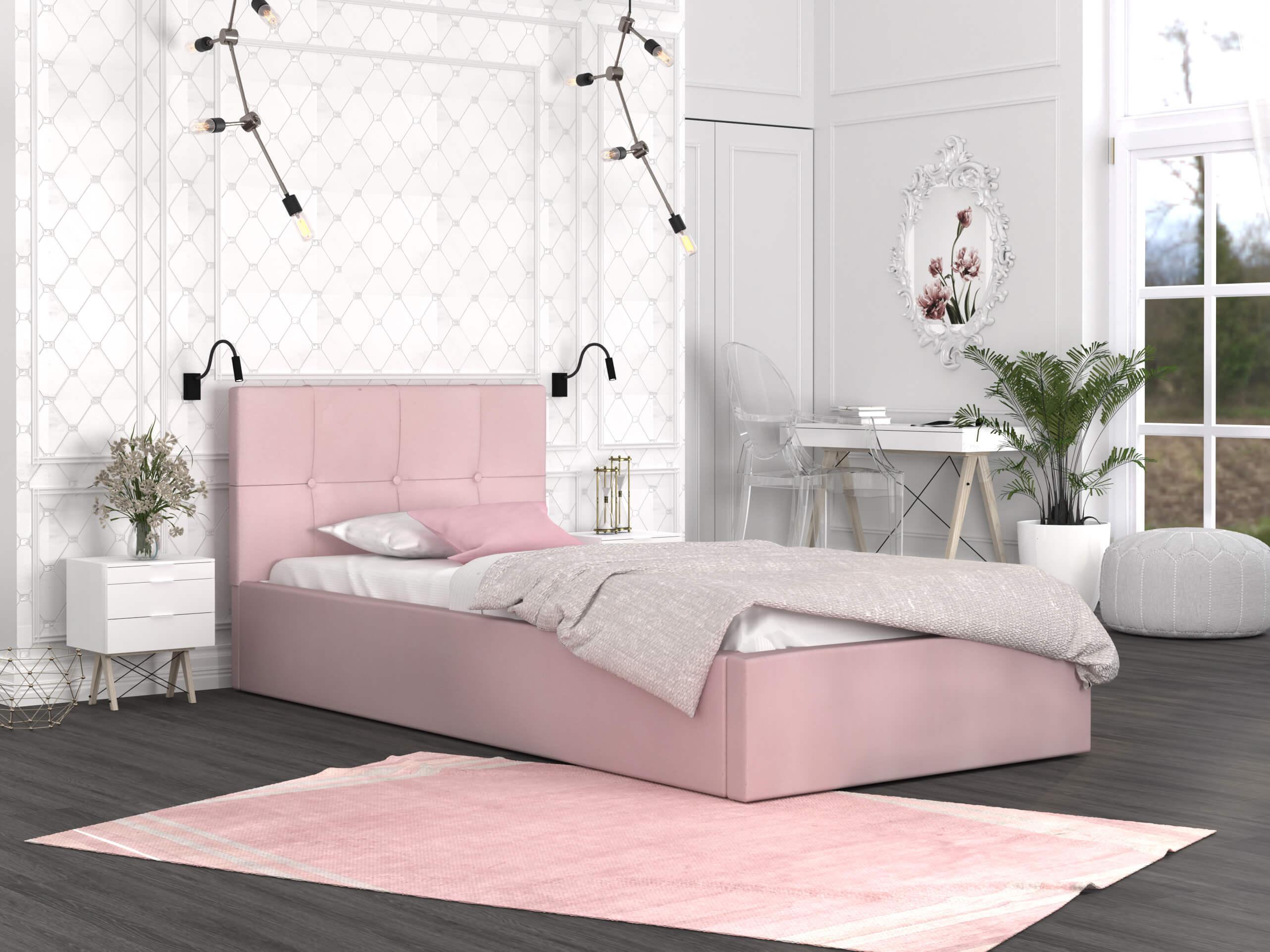 GM Čalúnená jednolôžková posteľ Ingrit 90x200 - ružová