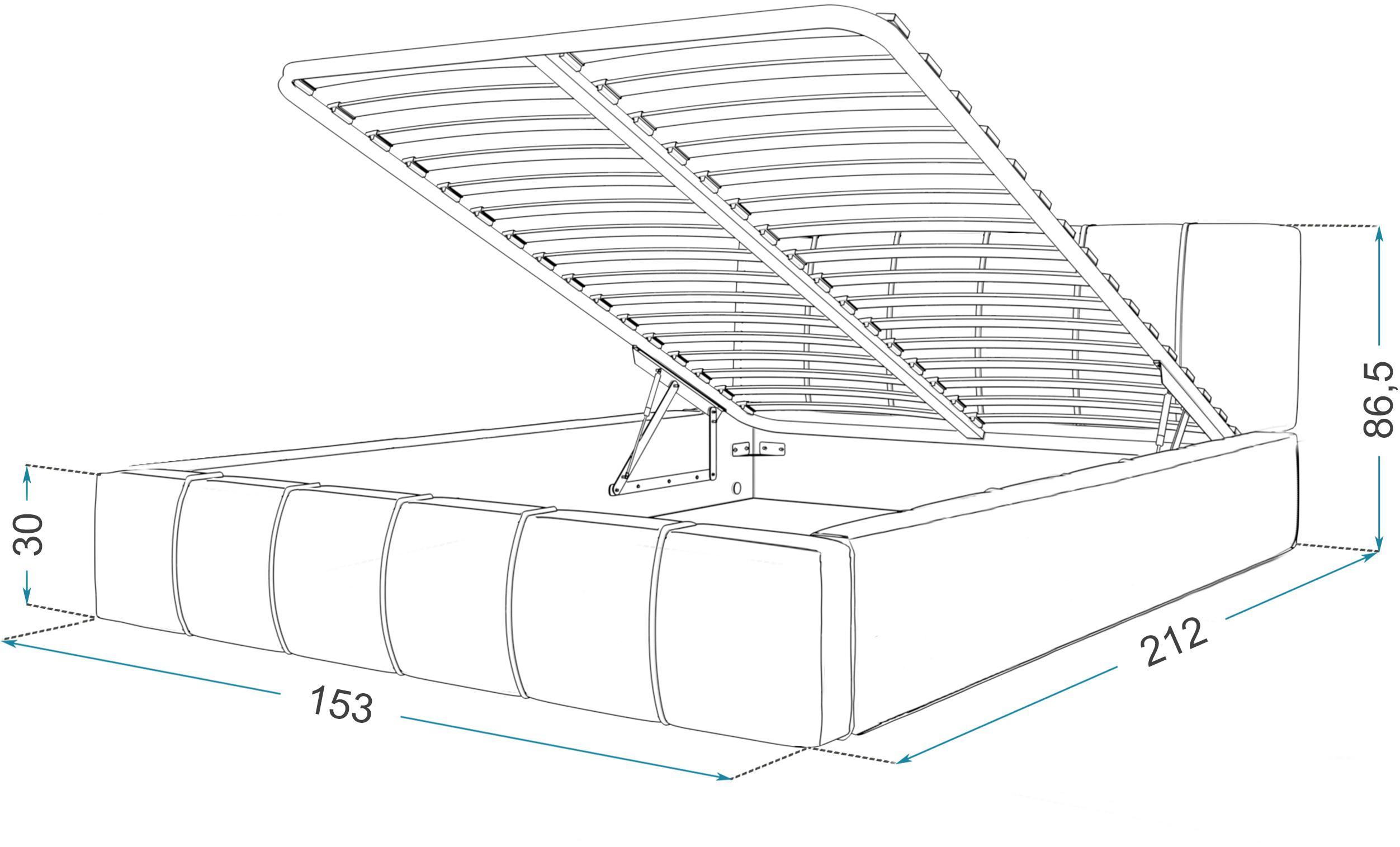 GM Čalúnená manželská posteľ Fiona - sivá Rozmer lôžka: 140x200
