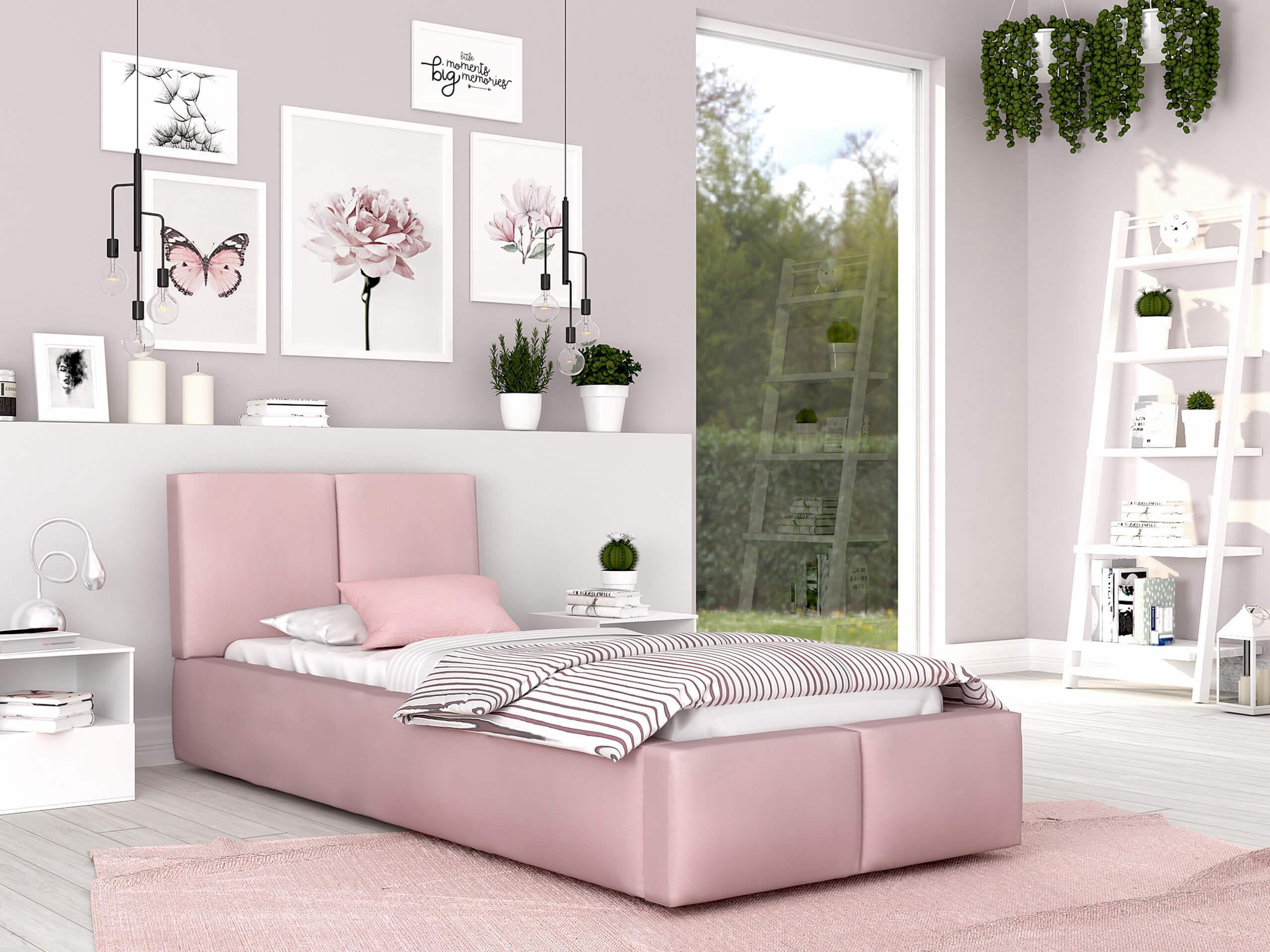 GM Čalúnená posteľ Izabela 90x200 - ružová