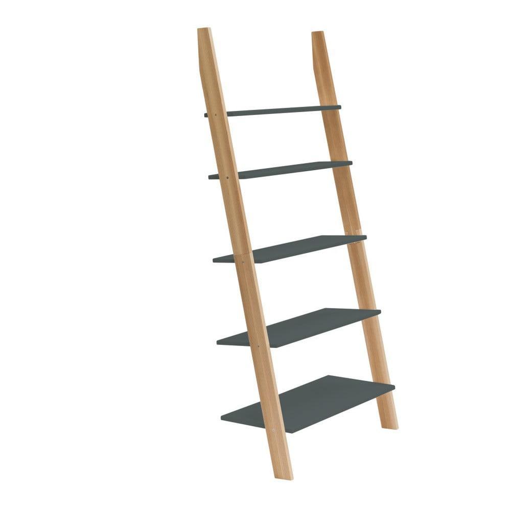 Grafitovosivá rebríková polica Ragaba ASHME, šírka 85 cm