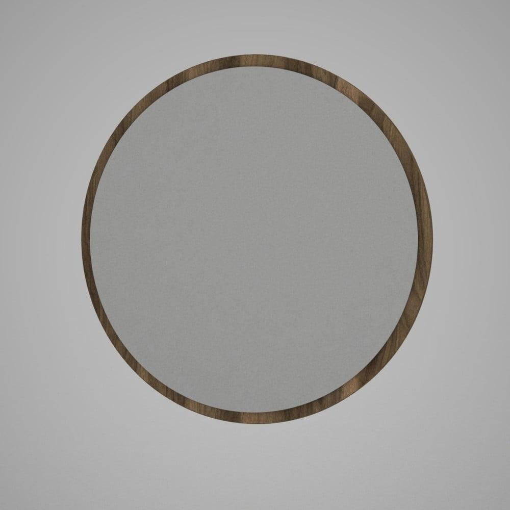 Okrúhle nástenné zrkadlo v hnedom ráme Glob, ⌀ 59 cm