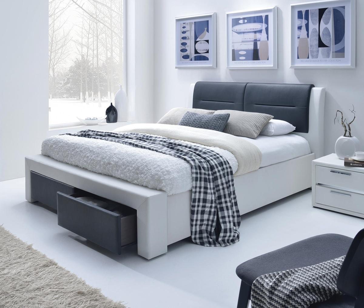HALMAR Cassandra S 160 čalúnená manželská posteľ s roštom biela / čierna
