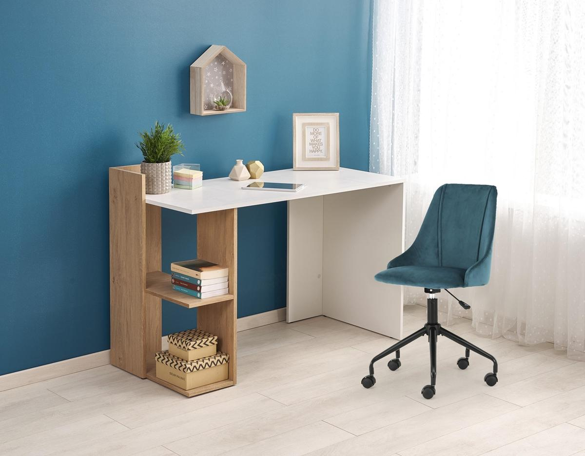 HALMAR Fino písací stôl dub zlatý / biela
