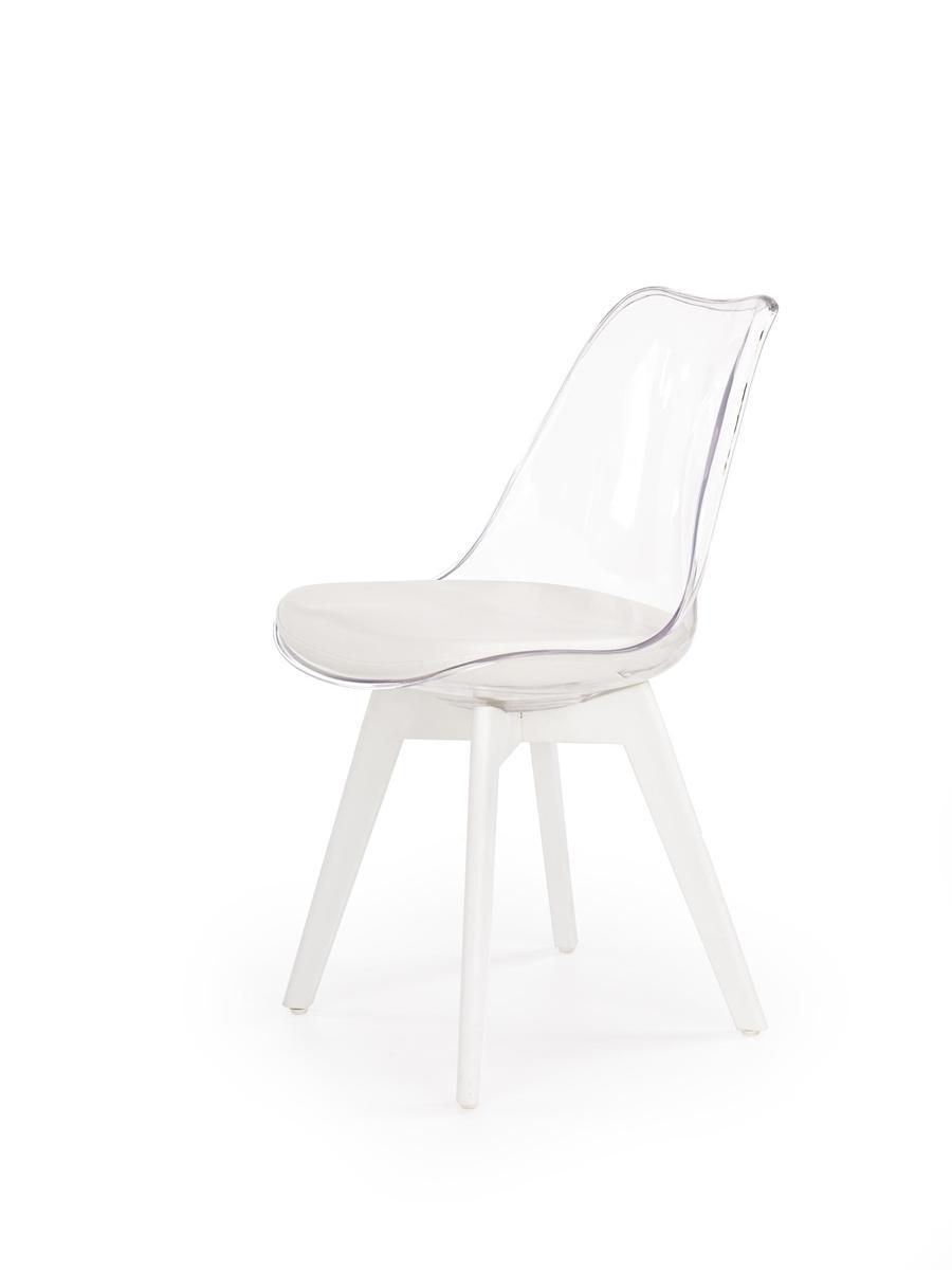 HALMAR K245 jedálenská stolička biela / priehľadná