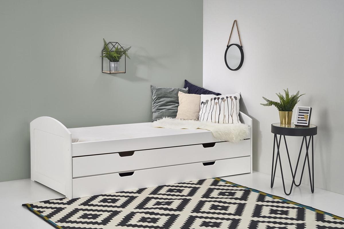 HALMAR Laguna 2 90 rozkladacia posteľ s prístelkou biely lesk