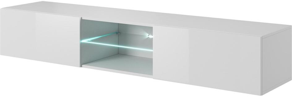 HALMAR Livo 180W tv stolík na stenu biela / biely lesk