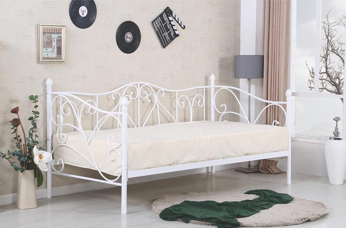 HALMAR Sumatra 90 kovová jednolôžková posteľ s roštom biela