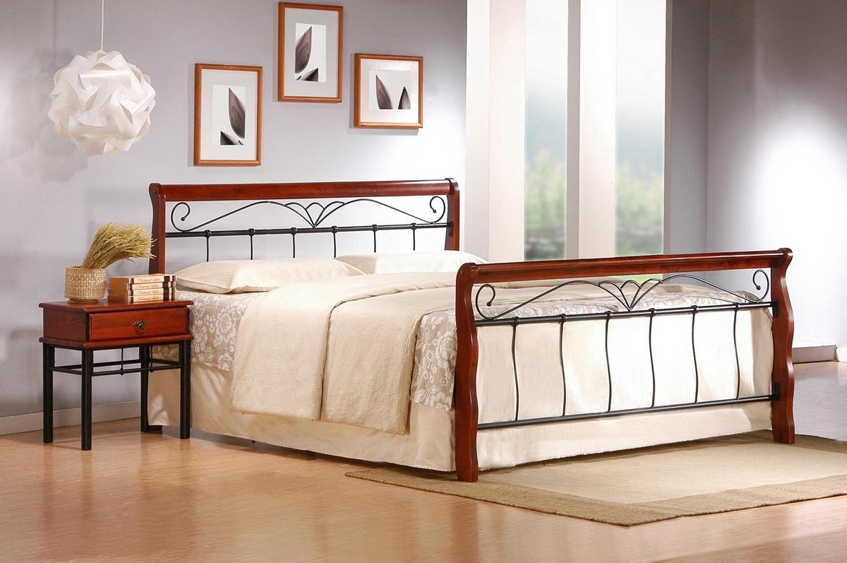 HALMAR Veronica 180 kovová manželská posteľ s roštom čerešňa antická / čierna
