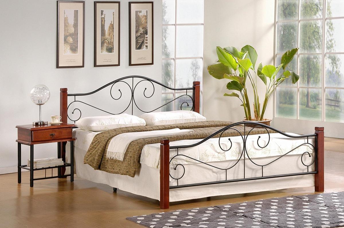 HALMAR Violetta 140 kovová manželská posteľ s roštom čerešňa antická / čierna