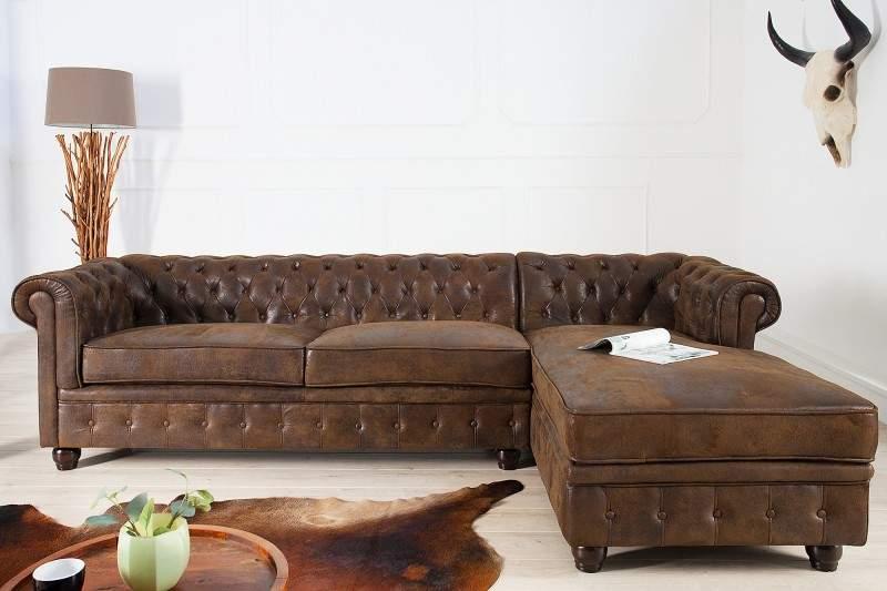 Hnedá rohová sedačka Chesterfield »