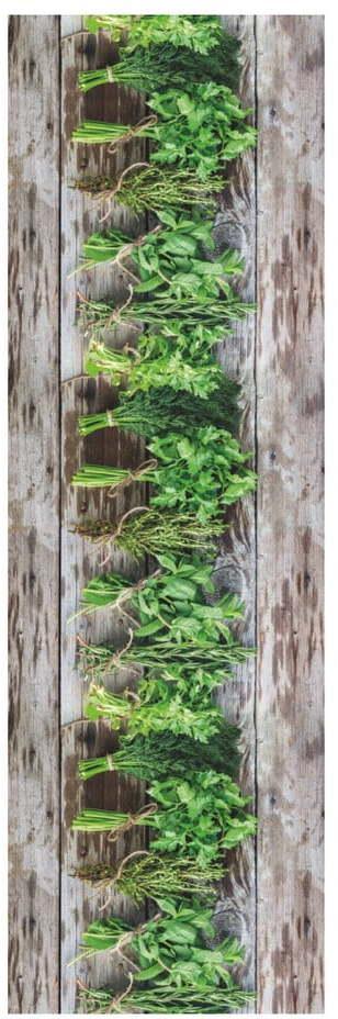 Hnedo-zelený behúň Floorita Aromatica, 58 × 190 cm