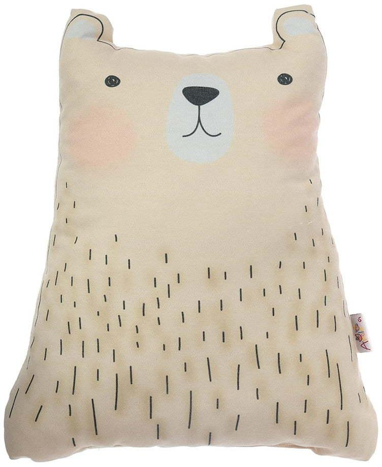 Hnedý detský vankúšik s prímesou bavlny Mike & Co. NEW YORK Pillow Toy Bear Cute, 22 x 30 cm