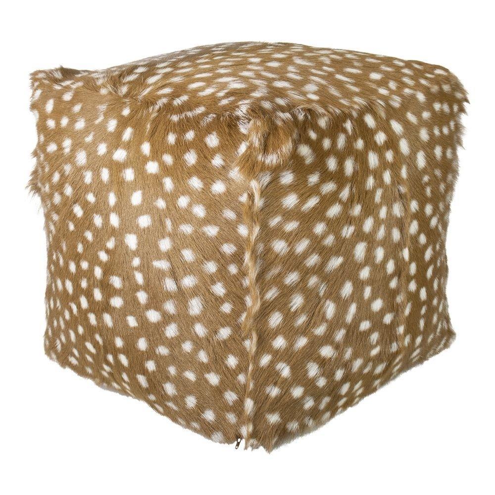 Hnedý puf s imitáciou kože koloucha - 45 * 45 * 45cm