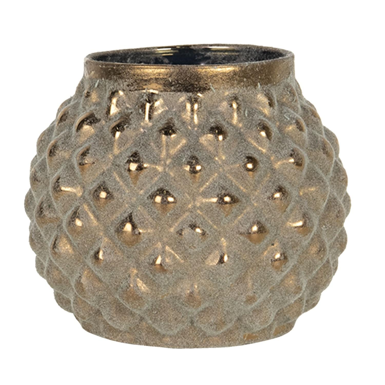 Hnedý sklenený svietnik na čajovú sviečku - Ø 9*8 cm