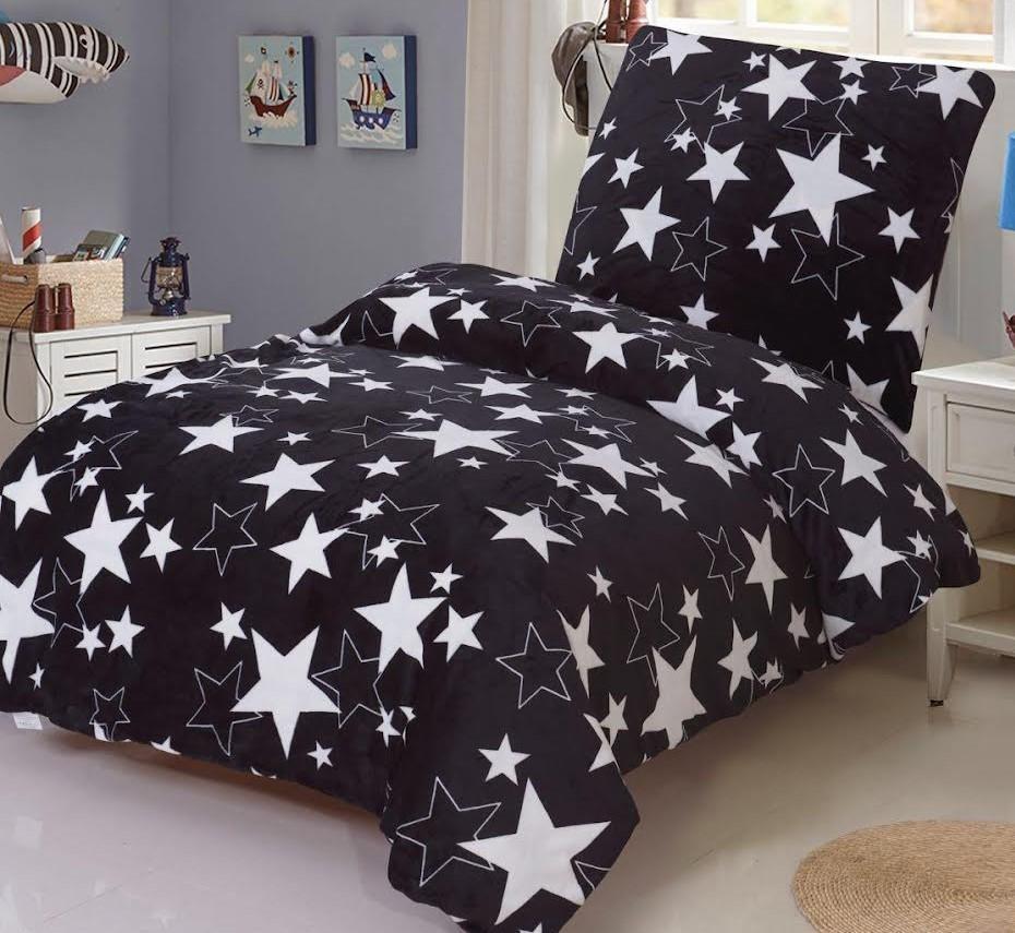 HoD Obliečky Stars čierne MikroFlanel  70x90 140x200 cm