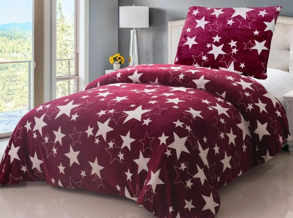 HoD Obliečky Stars fialové MikroFlanel  70x90 140x200 cm