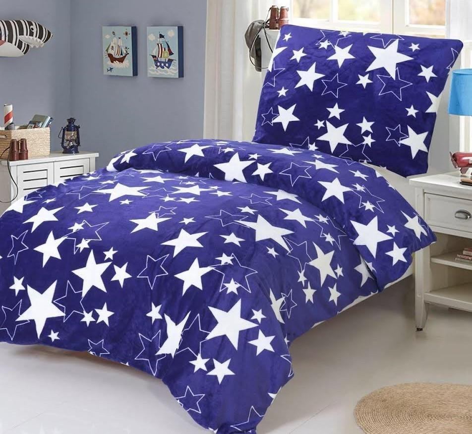HoD Obliečky Stars modré MikroFlanel  70x90 140x200 cm