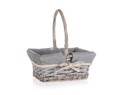 HOME DECOR Košík proutěný s držadlem HOME 22,5 x 18,5 x 10 cm, obdélník, šedý