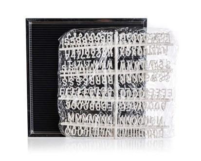 HOME DECOR Tabule s písmeny 30 x 30 cm, rám stříbrný