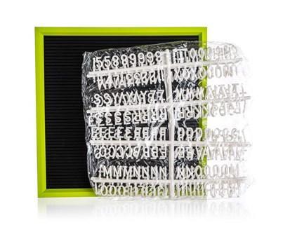 HOME DECOR Tabule s písmeny 30 x 30 cm, rám zelený