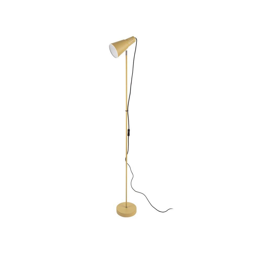 Horčicovožltá stojacia lampa Leitmotiv Mini Cone, výška 147,5 cm