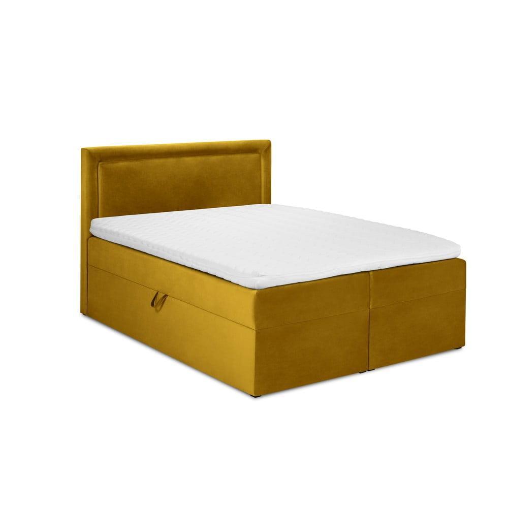 Horčicovožltá zamatová dvojlôžková posteľ Mazzini Beds Yucca, 160 x 200 cm