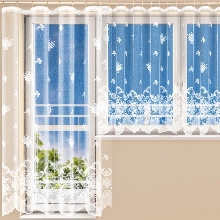 Hotová žakárová záclona AURÉLIE - balkónový komplet