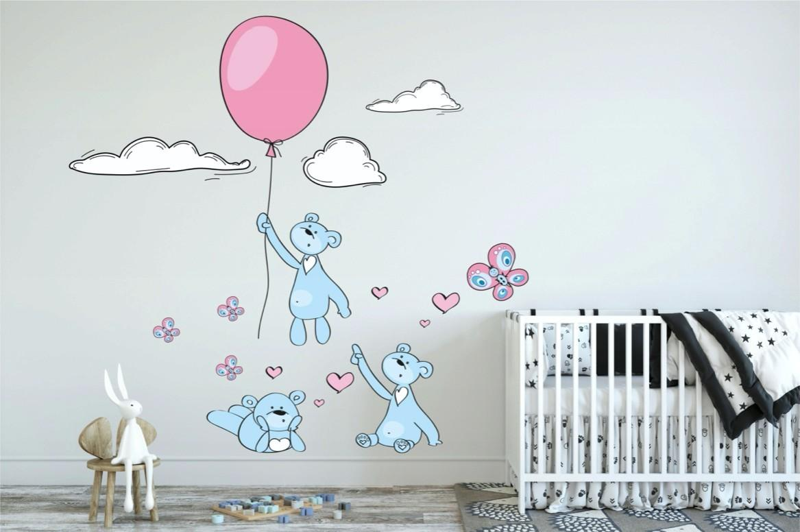 DomTextilu Hravá modro ružová nálepka na stenu zaľúbené myšky 80 x 160 cm 46562-217355 Modrá