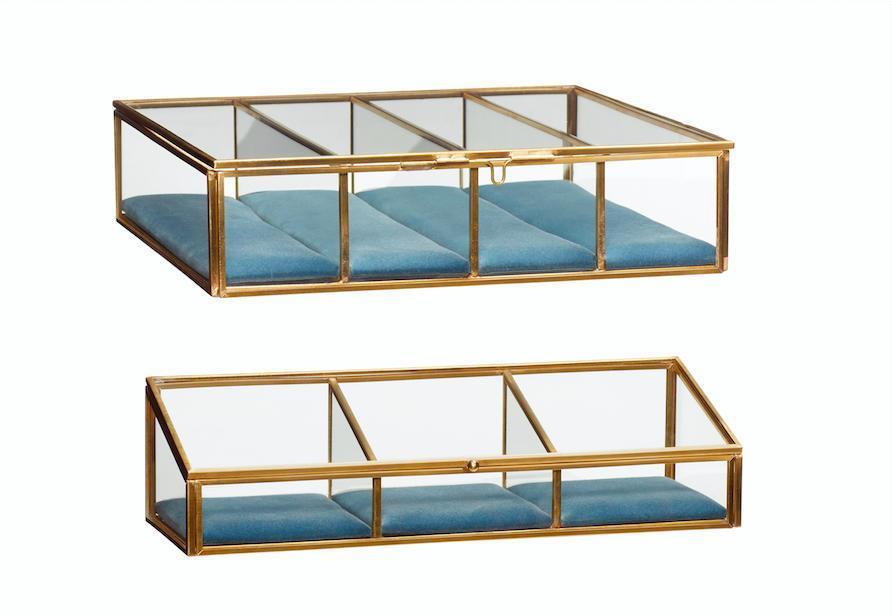 Hübsch Sklenený box s priehradkami brass glass Menší