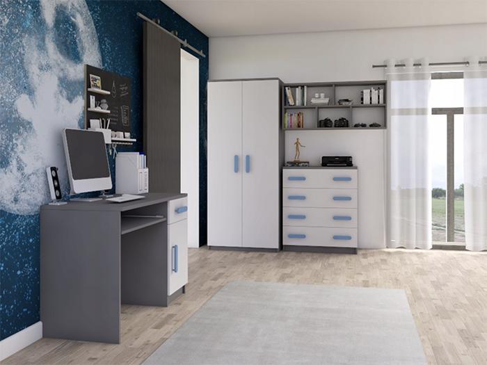 ID Nábytková stena Svend - sivá,modrá