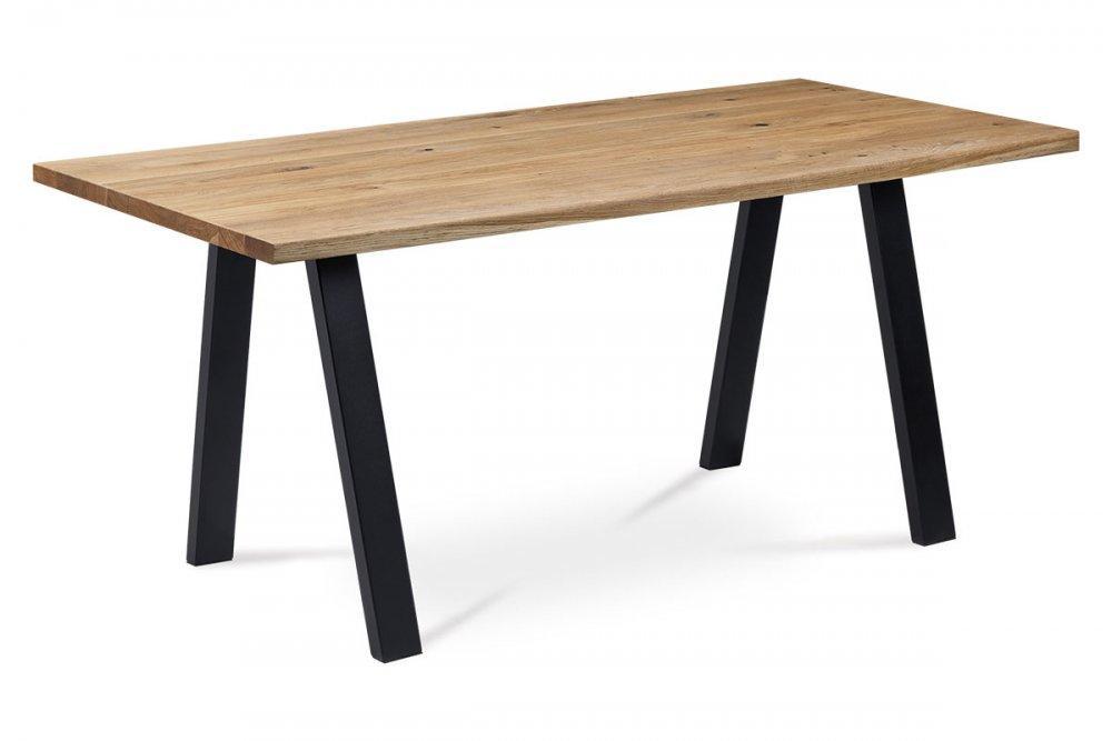 Jedálenský stôl DS-K160 OAK 160x90 masív dub / čierna Autronic