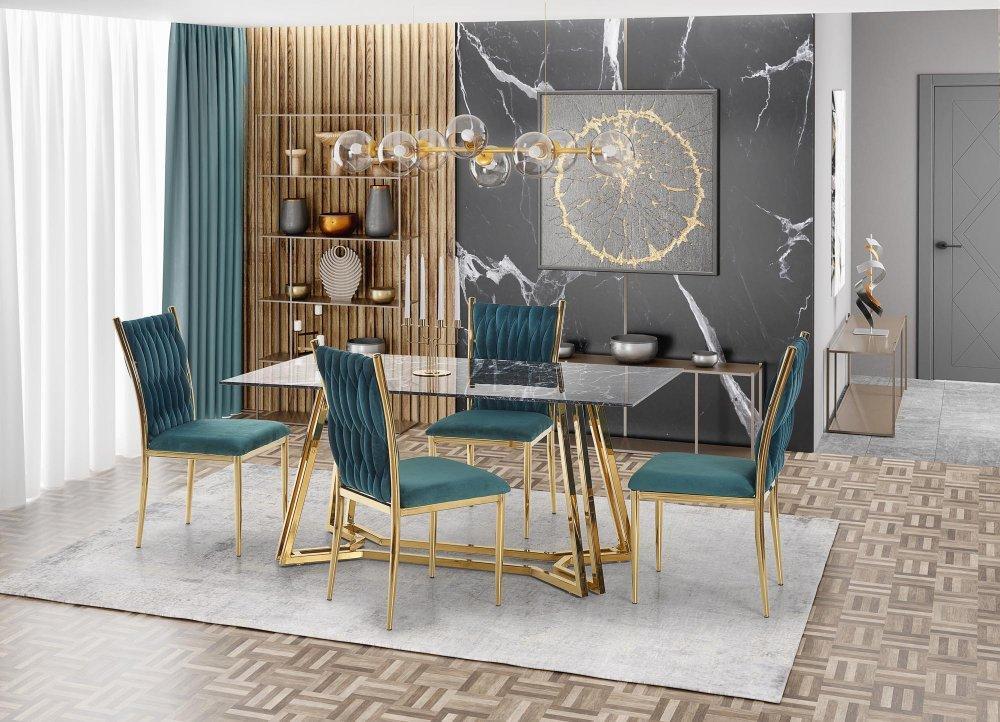Jedálenský stôl KONAMI čierny mramor / zlatá Halmar