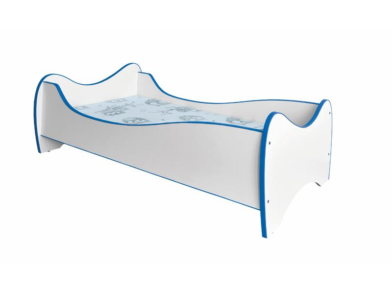 Jednolôžková posteľ 80 cm Duo (biela + modrá) (s roštom a matracom)