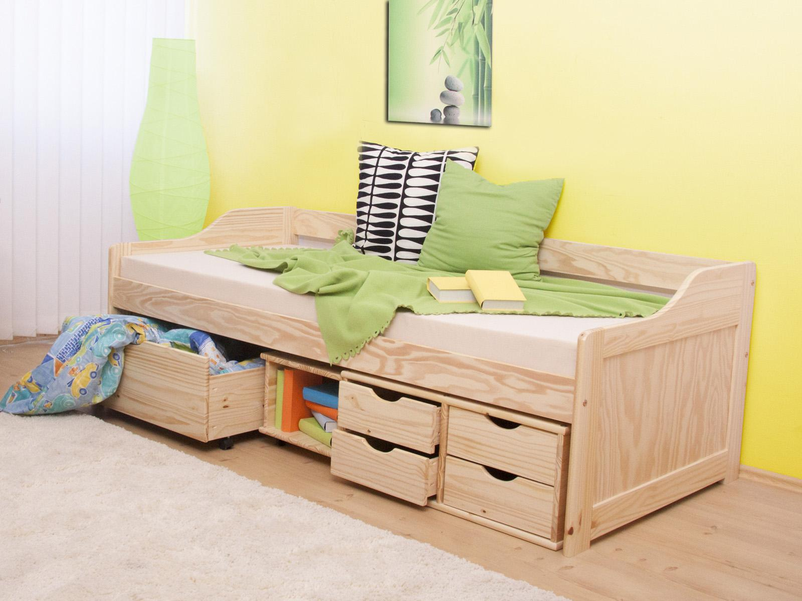 Jednolôžková posteľ 90 cm Mangu (masív, s roštom)