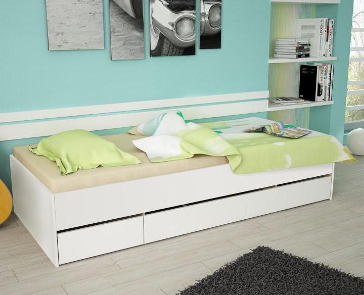 Jednolôžková posteľ 90 cm Matari (biela + biela)