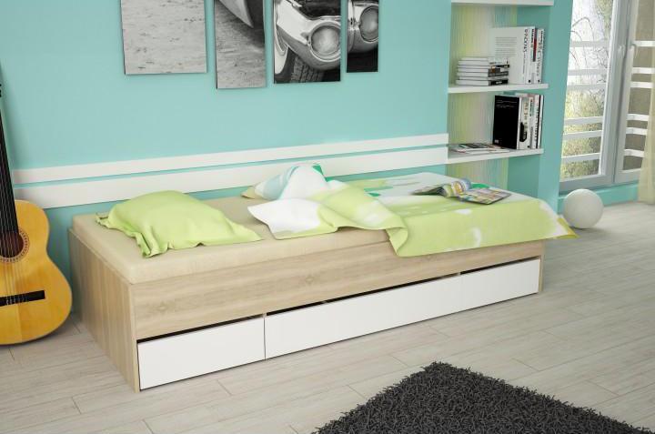 Jednolôžková posteľ 90 cm Matari (dub sonoma + biela)