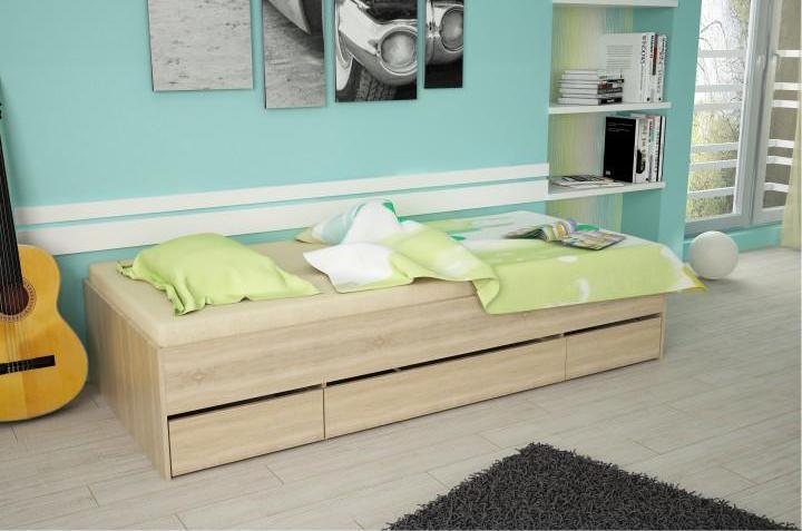 Jednolôžková posteľ 90 cm Matari (dub sonoma)