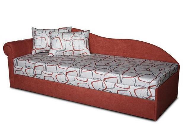 Jednolôžková posteľ (váľanda) 70 cm Luxus II (Tehlová 41 + Dodo 1008) (L)