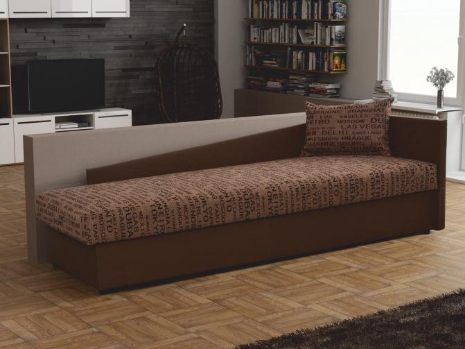 Jednolôžková posteľ (váľanda) 80 cm Jeannine (hnedá) (s úl. priestorom) (P)