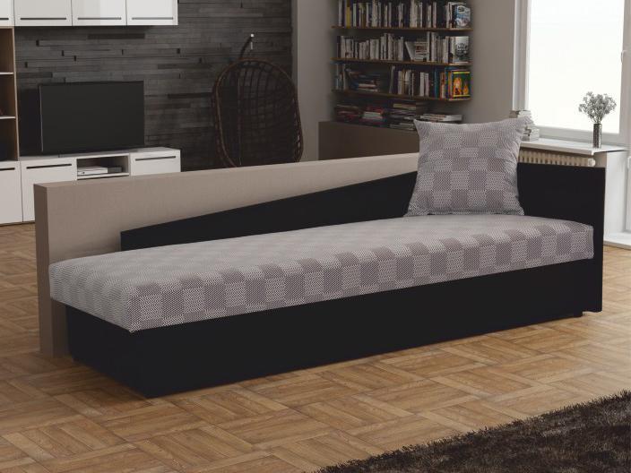 Jednolôžková posteľ (váľanda) 80 cm Jeannine (sivá + čierna) (s úl. priestorom) (P)