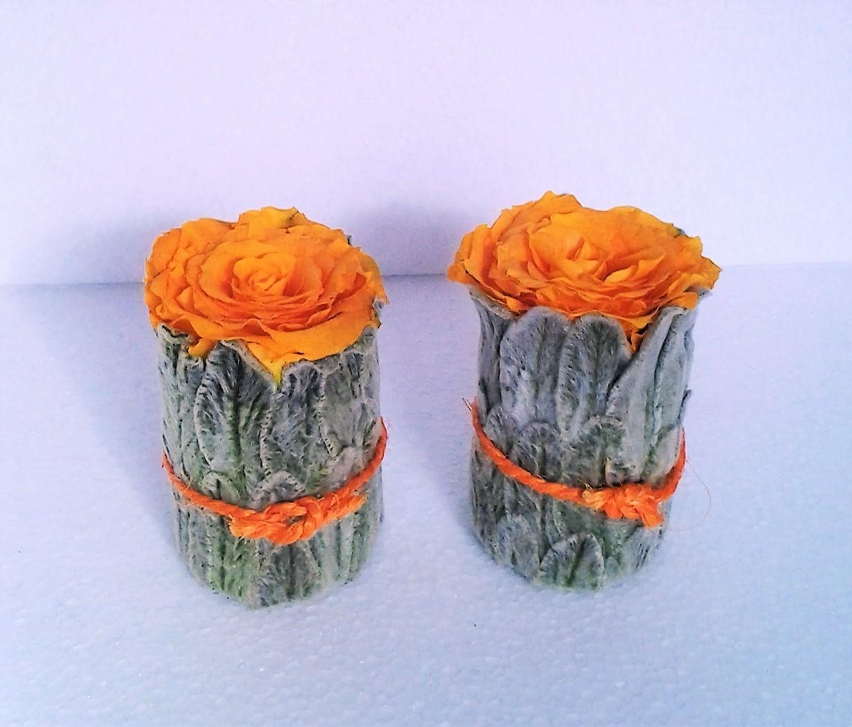 kalich s oranžovou ružou dekorácia 6,5 x 10 cm
