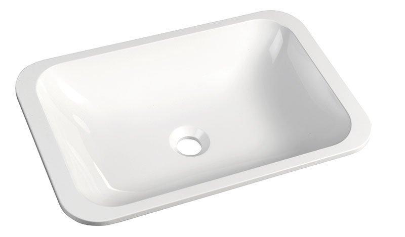 Kama 50134 umývadlo 50x26 cm, liaty mramor, biele, zápustné
